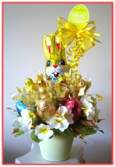 Easter gift for her candy bouquet our easter gifts are never chocolate bunny surrounded with milk chocolate easter figures eggs adorned with lovely floral enhancement negle Images