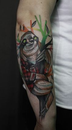"""Working Class Faultier by jukan @ stilbruch-tattoo.com (on me!!) i call him """"Emil"""""""