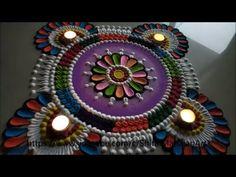 Navratri ,Diwali Special multicolored Rangoli Designs using spoon|attractive rangoli for festival - YouTube Rangoli Designs With Dots, Rangoli Designs Images, Rangoli Designs Diwali, Latest Rangoli, Durga Puja, Simple Rangoli, Indian Festivals, Simple Flowers, Traditional Art
