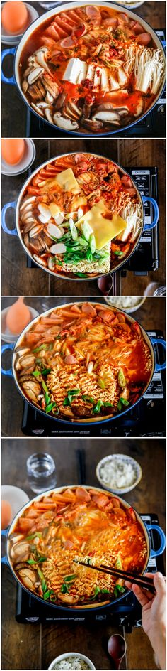 Korean army stew (Budae Jjigae) is a Korean fusion hot pot dish loaded with Kimchi, spam, sausages, mushrooms, instant ramen noodles and cheese. The soup is so comforting and addictive! | MyKoreanKitchen.com