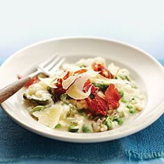 Lemon Ricotta Risotto with Asparagus, Peas, and Prosciutto | MyRecipes.com