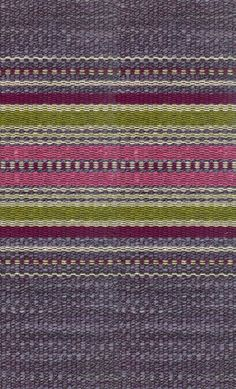 Carlow Woven Upholstery Fabric A heavy weave fabric in mottled lavender with hortizontal stripes of pink, green, aubergine and string.