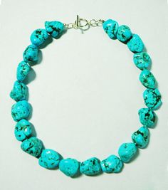 "Stunning Large 19"" Genuine Sonora Mexico Turquoise Sterling Silver Necklace!"
