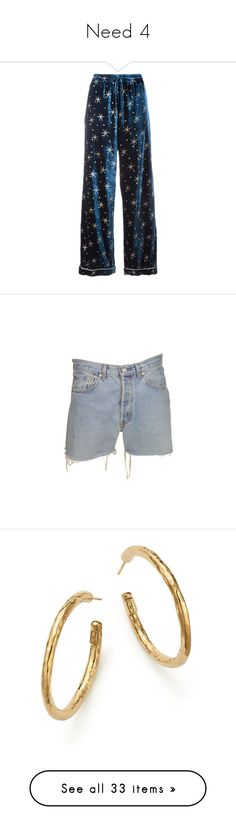 """""""Need 4"""" by martabiurrungarrido ❤ liked on Polyvore featuring pants, bottoms, pajamas, trousers, valentino, blue, shorts, short, levi cut offs and denim cut-off shorts"""