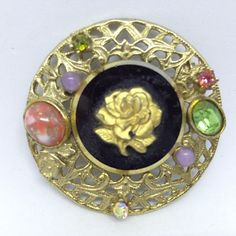 Vintage ROSE FLOWER BROOCH PIN Black Glass Multi Color RHINESTONE & Stones$5.00 Sale! #ebay #vintagejewelry #bringbackthebrooch