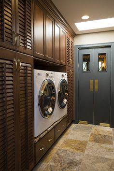 Laundry Room With Dark Wood Cabinetry and Swinging Doors Tiny Laundry Rooms, Laundry Room Doors, Laundry Room Layouts, Laundry Room Organization, Laundry Room Design, Organization Ideas, Storage Ideas, Laundry Closet, Mud Rooms