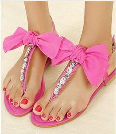 Pink bow studded sandels