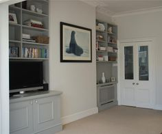 Farrow & Ball Inspiration - Cupboards in Lamp Room Gray and walls in Strong White - very peaceful. Diy Living Room Decor, Living Room Paint, Living Room Carpet, New Living Room, Farrow And Ball Lamp Room Grey, Farrow And Ball Blue Gray, Alcove Cupboards, Grey Cupboards, Farrow Ball