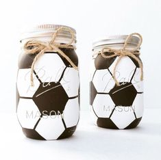 The first Mason Jar Soccer Ball ever! Our handpainted soccer masons make the perfect centerpieces for showers & events, piggy bank for any