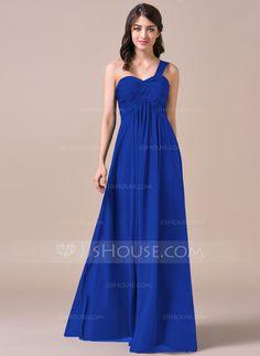 Empire One-Shoulder Floor-Length Chiffon Bridesmaid Dress With Ruffle  (007057720) Navy f9674f264e4