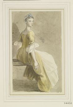Paul Sandby A seated girl circa 1770 Pencil and watercolour 18th Century Clothing, Unusual Art, Working Class, Watercolor Drawing, Gray Background, Figure Drawing, Regency, Female Art, Fabrics