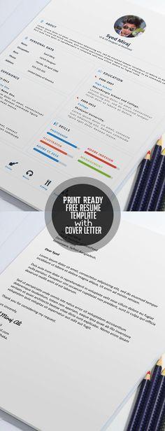 free print ready resume template and cover letter resumetemplate minimalresume resumedesign freebie - Free Resume To Print