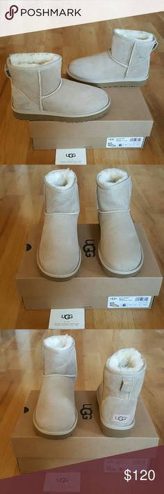 UGG Boots I am selling a pair of NEW UGG Boots. They are size 6 in women. This style is called Classic Mini II. Treadlite by UGG outsole. Water resistant suede. Sand color. UGGpure wool lining and insole.  They have the hologram as shown in the picture to prove authenticity. Feel free to ask any questions! (#110) *** NO TRADES *** NO LOW BALLING PLEASE *** I'm open to reasonable offers! Thanks for viewing! UGG Shoes