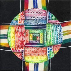 "ANDEAN RAINBOWS (c) 2015 Margaret Bremner 4.5"" tile on 6"" canvas Tangles: Bilt, Knightsbridge, Lamar, Shattuck, Unyun"