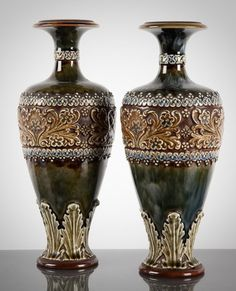Pair Doulton Lambeth Stoneware Vases 1900s from Patrick Howard Antiques Dublin on Ruby Lane