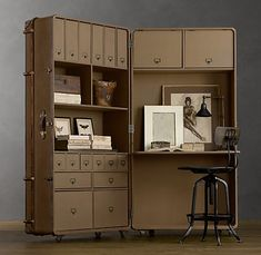 steamer trunk turned office