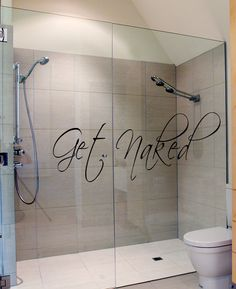 Bathroom Decor Wall Decal Get Naked Bath Room Art by HappyWallz, $17.99