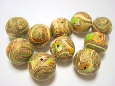 Spiral Planet Earth Handmade Marbled Polymer Clay Beads by PennysLane, $7.50
