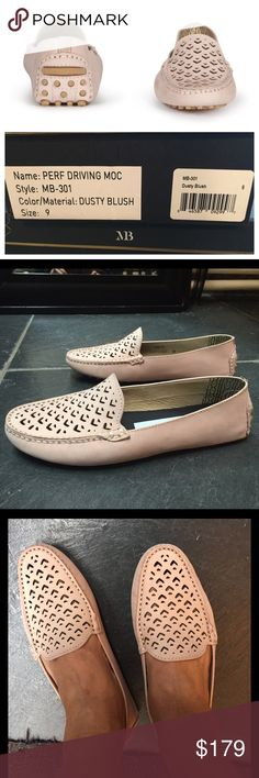 """Matt Bernson Perforated Driving Moc in Dusty Blush Beautiful neutral pink driving mocs! Color """"Dusty Blush"""" is hard to find and sold out everywhere.  Size 9.  Love them, bought them stress shopping in NYC but realized I didn't need them.  Never worn.  Brand new in box with shoe bag.   Retail $229.   Details: Square moc toe; Perforated leather vamp; Slip-on; Memory foam insole; Rubber grip sole. Materials: Leather upper, rubber sole Matt Bernson Shoes"""