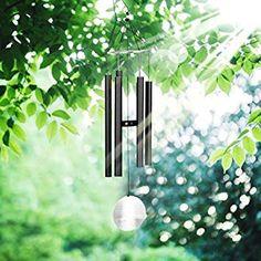 Pathonor Carillon de vent Wind Chime Tinkle Musical Accordéon Bois Pendule Tubes en aluminium de 22cm, gris foncé tendance, musique Zen haut de gamme