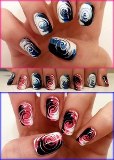 Water marble nails pinterest marbles hair makeup and water paint 3 diff color lines down your nail prinsesfo Choice Image
