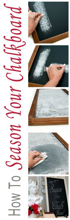 """Salvaged Inspirations: To prevent """"ghosting"""" here's How to Season a New Chalkboard in seconds!"""