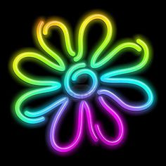 NEON 'RAINBOW FLOWER' SIGN ๑෴MustBaSign෴๑