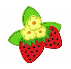 Two Strawberries Applique Machine by LovelyStitchesDesign on Etsy