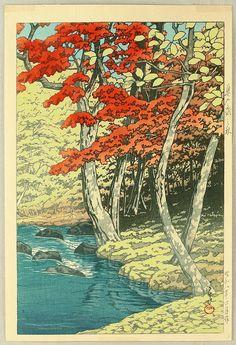 Kawase Hasui: 'Autumn in Oirase', 1933 Japanese Art Prints, Japanese Artists, Craftsman Paintings, Geisha Art, Japan Painting, Japanese Quilts, Japan Art, Woodblock Print, Chinese Art