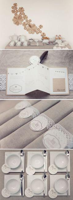 Simple yet elegant... Bridal shower tea party inspiration using kraft, linen, lace, porcelain.