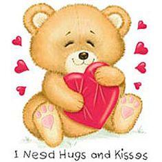 I Need Hugs and Kisses - Bear & Hearts