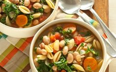A hearty soup chock full of beans and greens, this Italian classic features dried cranberry beans, also called borlotti beans. Their red-flecked skin turns pinkish-white when cooked.