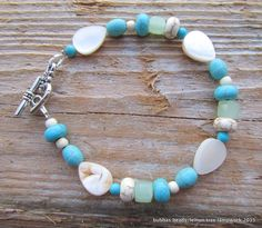 Mother of pearl, howlite and crystal bracelet. www.facebook.com/bubbasbeads