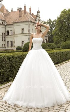 #Dorris Wedding - #Dorris Wedding Ball Gown Floor-length Strapless Lace Top Tulle Dress - AdoreWe.com