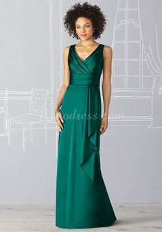 empire waist sexy column satin side draping bridesmaid dress - Wegodress.com