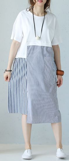 23554bb4f4 boutique white striped cotton maxi dress casual O neck short sleeve  traveling dress Fine patchwork pockets cotton caftans