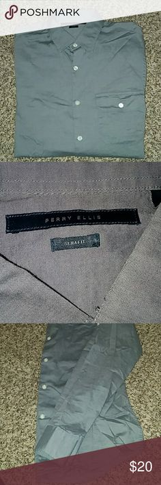 🎉HP!🎉 S Gray Perry Ellis Slim Fit Dress Shirt Dressy or Casual button down, single front pocket, long sleeve shirt. Gray, size small, by Perry Ellis. Has a button above the elbow to allow the sleeves to be rolled up for a more casual look.  🎉Host Pick Men's Style Party 1/5/18!🎉  Offers and questions are encouraged! Perry Ellis Shirts Dress Shirts