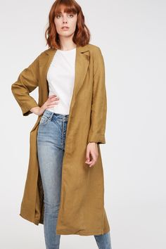 A lightweight trench is perfect in this transeasonal weather. The Ember Trench comes in a longline with a drape front and features a waist tie. Made from linen which uses way less water than othe Long A Line, Trench, Duster Coat, Fashion Beauty, Weather, Tie, Model, Jackets, How To Wear