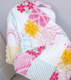 vintage chenille bedspreads upcycled into baby blankets Chenille Crafts, Cot Quilt, Chenille Bedspread, Chenille Fabric, Quilting Projects, Quilting Designs, Sewing Projects, Shabby Chic Quilts, Baby Girl Blankets