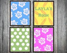 4 8x10 Surfer Little girls room digital prints by Raising3Cains, $10.99