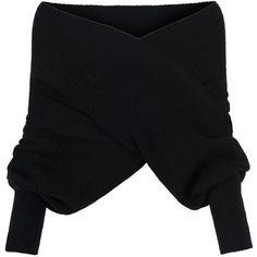 Black Off Shoulder V-neck Wrap Detail Long Sleeve Knit Sweater ($21) ❤ liked on Polyvore featuring tops, sweaters, jumpers, black, blouses, knit sweater, wrap sweater, v neck sweater, v neck knit sweater and off the shoulder tops