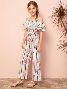 Style: BohoColor: MulticolorPattern Type: Floral, StripedNeckline: Cold ShoulderLength: LongType: CulottesDetails: Ruffle, Belted, Tiered LayerSleeve Length: Cap SleeveSeason: Spring/SummerComposition: 100% PolyesterMaterial: PolyesterFabric: Non-stretchSheer: NoHem Shaped: Wide LegFit Type: RegularWaist Type: High WaistBelt: Yes Trendy Fashion, Fashion Outfits, Jumpsuits For Girls, Striped Jumpsuit, Cold Shoulder, Shoulder Length, Ruffle Trim, Wide Leg, Legs