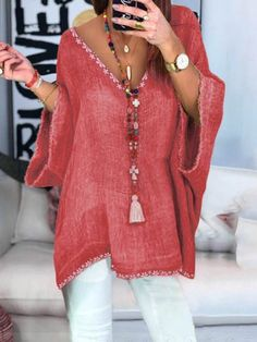 Plus Size Linen Women Loose New Casual Lady Daily Shift Tops – narachic Half Sleeves, Types Of Sleeves, Look Fashion, Womens Fashion, Estilo Hippie, Looks Plus Size, Linen Blouse, Casual T Shirts, Mode Inspiration