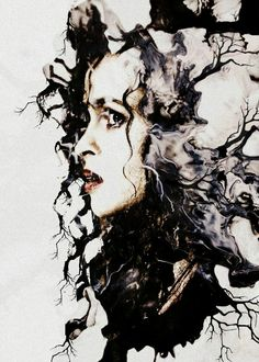 Bellatrix Lestrange<<<I hate Bellatrix but this art is really cool--looks very appropriate to who and what she was