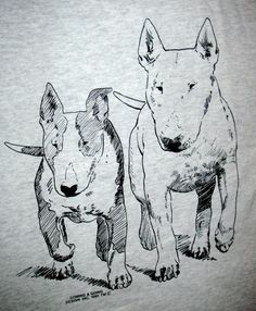 BULL TERRIERS White Standard and Colored by iamfinebydesign, $21.00