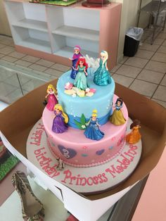 Princess party- Disney princesses: Ariel, Ana, Elsa, Aurora, Rapunzel, Cinderella, Snow White, Olaf, Tiana, Belle. Cake designs by Edda, Miami. FL.