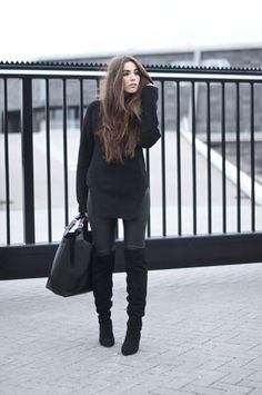 long hair and all black