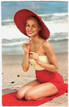 She's all red-y for a stylish day at the beach. #beach #summer #1950s #vintage #swimsuit #hat #red