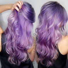 Purple hair painting by Ricardo Santiago. Pastel purple hair color. hotonbeauty.com