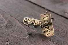 Adventurous Natural Brass Dog Tag on Brass Ball by RUSTICBRAND, $31.00
